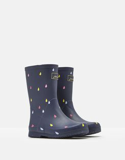 Joules UK Roll Up Girls Wellies NAVY RAINDROPS