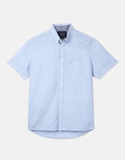Joules US Westway Mens Lightweight Short Sleeve Classic Fit Shirt BLUE