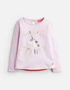 Tom Joule Kleider - Joules Germany AVA Younger Girls Jersey Top mit Applikation, 1-6 Jahre Rosa Einhorn