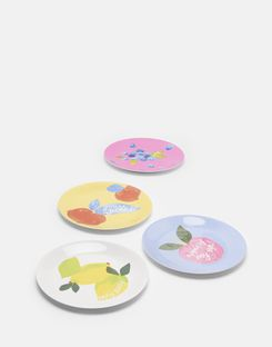 Joules UK Garden Melamine Dinner Plates Homeware Set Of Four YELLOW FRUIT MULTI