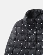 Joules Womens Wroxham Print Large Collar Reversible Padded Coat in NAVY SPOT