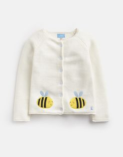 Joules US Dorrie Younger Girls Knitted Cardigan 1-6 Yr CREAM BEE