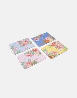 Joules UK Kitchen Placemats Homeware Set Of 4 Cork-Backed BLUE FLORAL MULTI