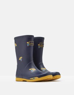 Joules US Roll Up Girls Rain Boots NAVY DUCKS