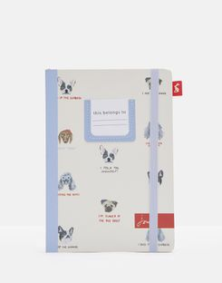 Joules UK A5 Notebook Homeware Hardback Printed WHITE ALL OVER DOGS