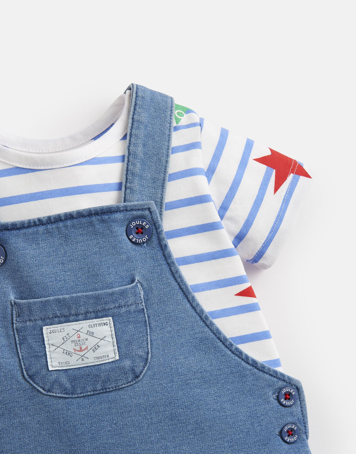 fb3c4ef25 Details about Joules Baby Duncan Denim T shirt And Dungarees Set in DENIM