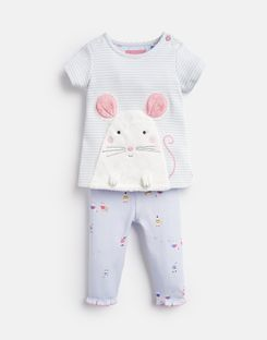 Joules US Poppy Baby Girls Applique Top And Pants Set BLUE MOUSE