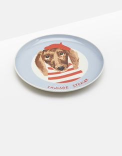 Joules UK Kitchen Side Plate Homeware Single Porcelain Printed BLUE DOG