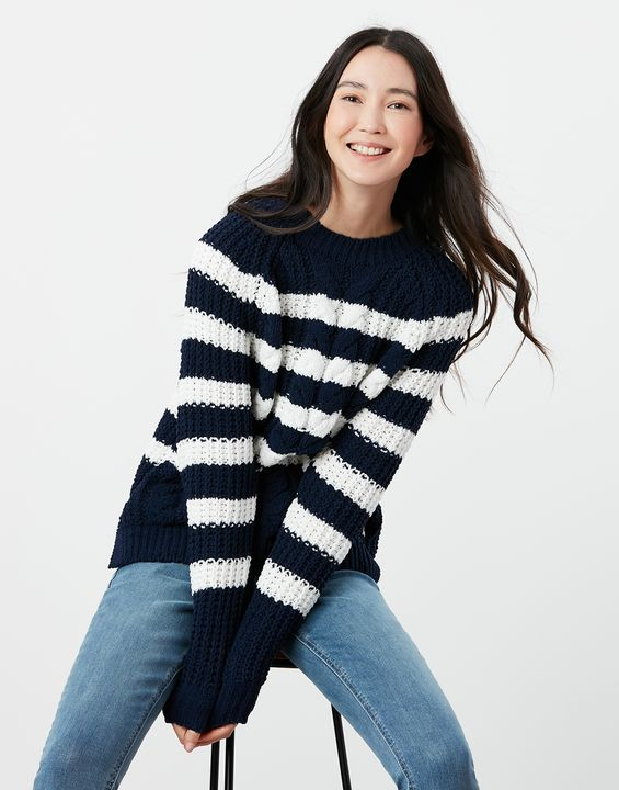 Joules Womens Seaford Chenille Cable Sweater - Navy Cream