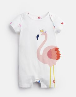 Joules UK Mindy Baby Girls 3D Novelty Babygrow WHITE FRUIT FLAMINGO