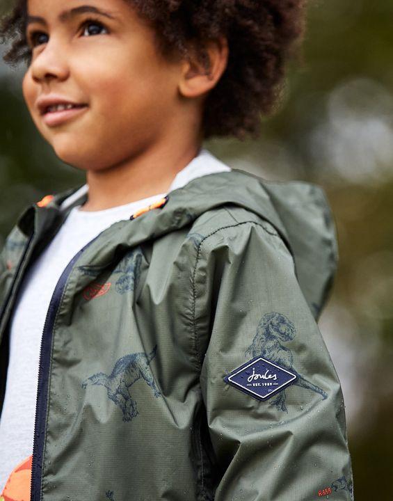 Joules Boys Arlow Waterproof Printed Packaway Jacket 1-12 Years - Green Dinos