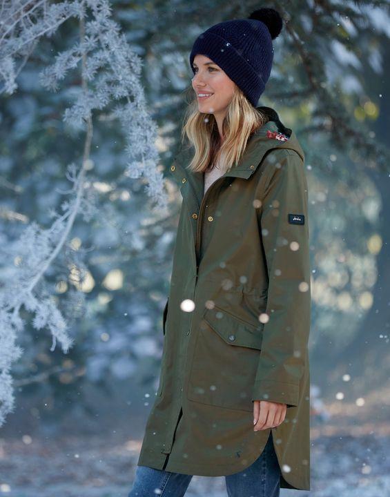 Joules Womens Loxley Longline Waterproof Jacket - Grape Leaf