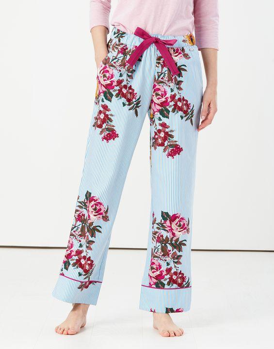 Joules Womens Luna Pajama Bottoms - Blue Stripe Florals