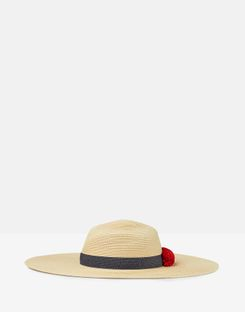 Joules US Shade Pom Womens Sun Hat With Poms RED