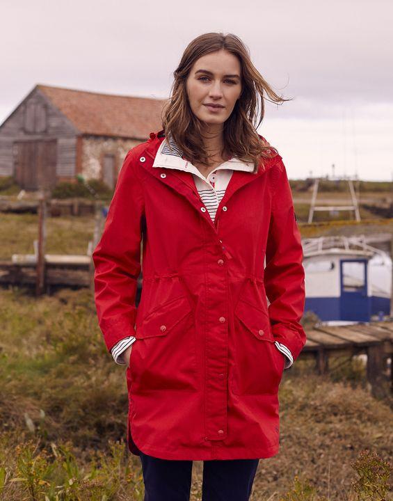 Joules Womens Loxley Longline Waterproof Jacket - Red