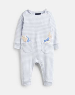 Joules UK Gracie Baby Girls Official Peter Rabbit™ Collection Applique Babygrow BLUE PETER RABBIT