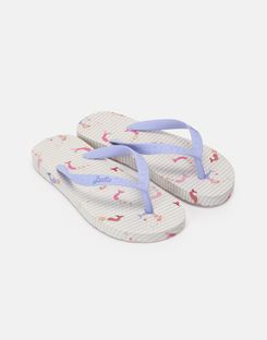 Joules US Printed Girls Flip Flops CREAM MERMAID STRIPE