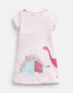Joules UK KAYE Short Sleeve Younger Girls Jersey Applique Dress 1-6 Yr PINK STRIPE DINOS