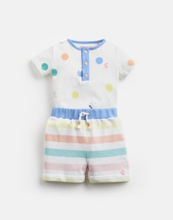 Joules US Joey Baby Boys Jersey Bodysuit And Shorts Set WHITE SAUSAGE DOG SPOT