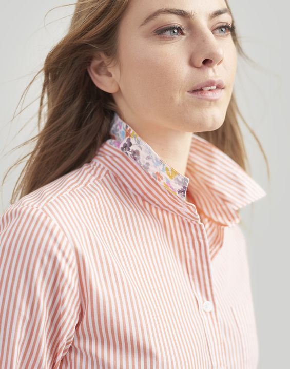 Joules UK Lucie Womens Printed Stripe Woven Shirt WHITE ORANGE STRIPE