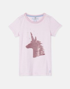 Joules US Astra Older Girls Jersey Applique Top 3-12 Yr PINK STRIPE UNICORN