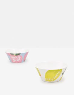 Joules UK Garden Melamine Bowls Homeware Set Of Four YELLOW FRUIT MULTI