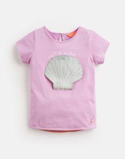 Joules US Chomp Younger Girls Novelty Applique T-Shirt 1-6 Yr MAUVE SHELL
