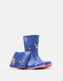 Joules UK Roll Up Girls Wellies BLUE UNICORN CLOUDS