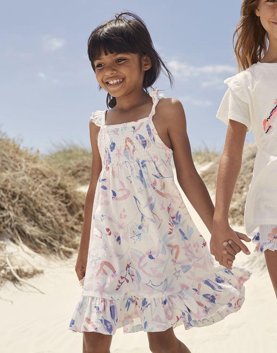 Joules Girls Lucia Woven Dress 1-12 Years - White Mermaids