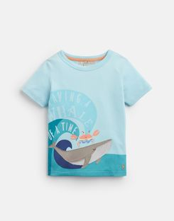 Joules UK Archie Younger Boys Applique T-Shirt 1-6 Yr AQUA WHALE