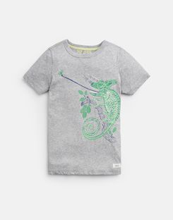 Joules US Ray Older Boys Glow In The Dark T-Shirt 3-12 Yr GREY CHAMELEON