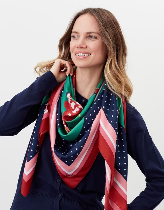 Navy Chickens One Size Joules  Agatha Large Square Scarf