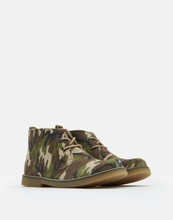 Joules UK Woodland Boys Casual Leather Boots DARK PINE CAMO