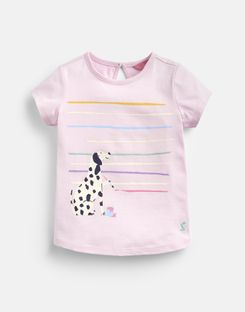 Joules US Pixie Younger Girls Screenprint T-Shirt 1-6 Years CHALKY PINK DALMATIAN