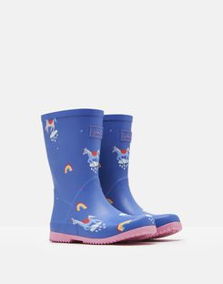 Joules US Roll Up Girls Rain Boots BLUE UNICORN CLOUDS