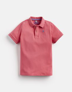 Joules US Woody Older Boys Polo Shirt 1-12 Yr DARK DAHLIA PINK