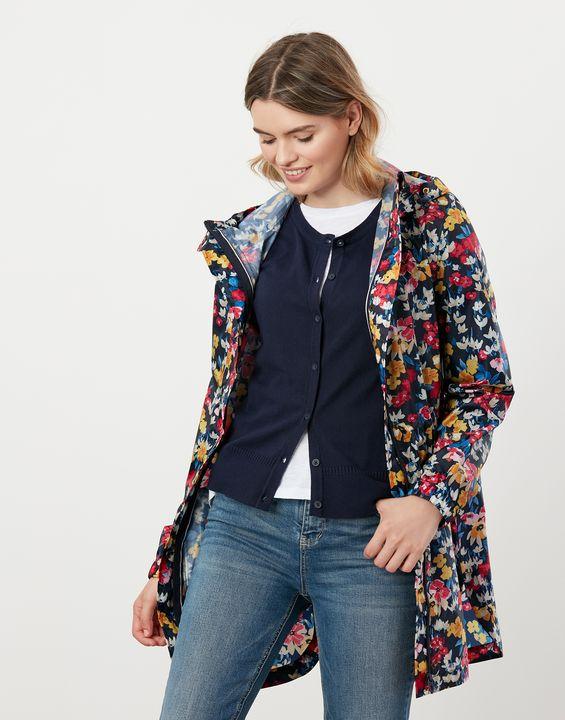 Joules Womens Golightly Printed Waterproof Packaway Jacket - Navy Floral