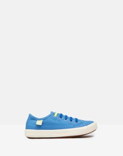 Joules UK Coast Pump Boys Canvas Lace Up Trainers BLUE