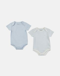Joules US Snazzy 2 Pack Baby Girls Short Sleeve Jersey Bodysuits ICE BLUE