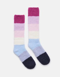 Joules UK Fabulously Fluffy Womens Socks PINK OMBRE STRIPE