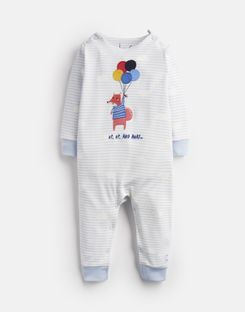 Joules US Fife Baby Boys Applique Babygrow BLUE BALLOON FOX