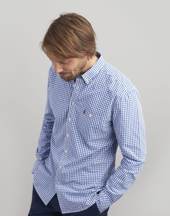Joules US Hewney Mens Classic Fit Peached Poplin Shirt BLUE WHITE GINGHAM