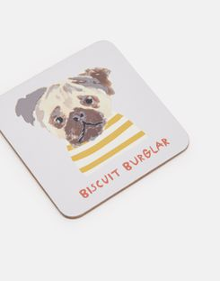 Joules UK KITCHEN COASTERS Homeware Set Of 4 Cork-Backed GOLD DOGS MULTI