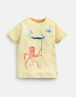 Joules US Ben Younger Boys Screenprint T-Shirt 1-6 Yr YELLOW OCTOPUS AND DIVER