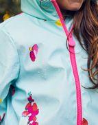 Joules Girls Raindance Waterproof Rubber Coat Yr in AQUA FLORAL