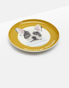 Joules UK KITCHEN SIDE PLATE Homeware Single Porcelain Printed GOLD DOG