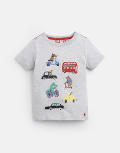 Joules US ARCHIE Younger Boys APPLIQUE T-SHIRT 1-6yr GREY TRANSPORT ANIMALS