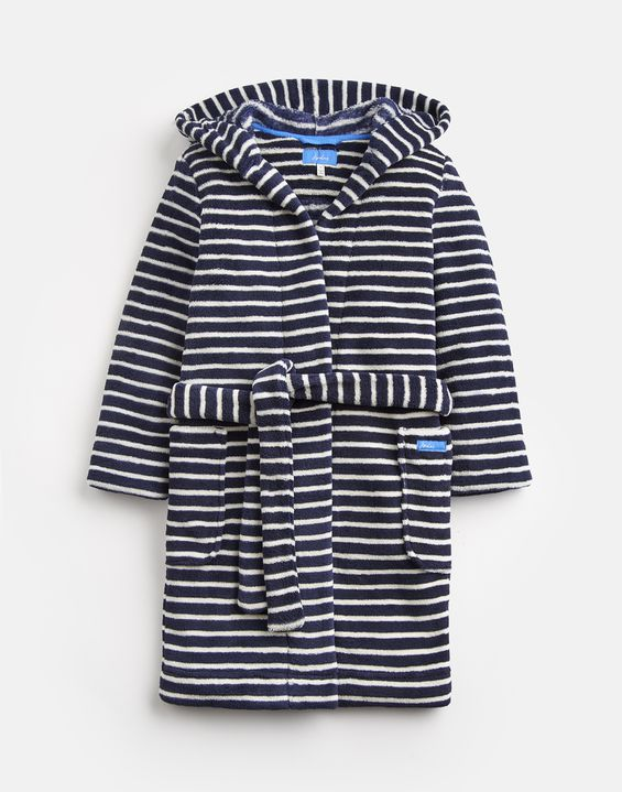 Joules UK Roban Older Boys Dressing Gown NAVY CREAM STRIPE