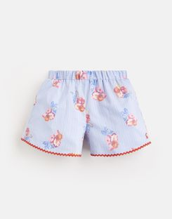 Joules UK Carmel Younger Girls Woven Printed Short 1-6 Yr BLUE FLORAL STRIPE