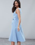 87d2adbe2 Joules US Fiona Womens Sleeveless Woven Dress With Tie Detail BLUE GINGHAM